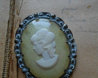 vintage shabby chic white and yellow cameo brooch pin marked western germany - vintage antique costume jewelry.