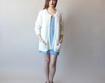 oversized cardigan / nubby ivory cardigan / 1980s / small - large