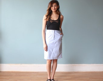 SALE 50% OFF  chambray skirt / preppy oxford pencil skirt / 1980s