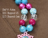 SALE 25% off! Olaf Anna Frozen Chunky Bubblegum Necklace RTS