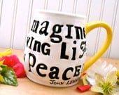 Blue Bird of Happiness Imagine Living Life In Peace Large Mug - Rustic HandMade John Lennon Letterpress Words Quote Extra Jumbo Coffee Cup