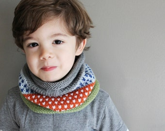 toddler knit cowl in CONFETTI - 2T/3T - vegan friendly - fair isle