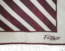 Modern vintage 60s white  and chocolate brown striped acetate, designer scarf. Made by Pepper in Japan.