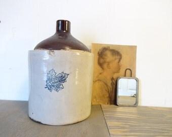 Antique Western Stoneware Jug...2 Gallon Jug..Western Stoneware Jug..Stoneware Jug..Maple Leaf Jug