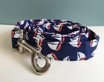 Navy Sailboats Nautical Dog Leash