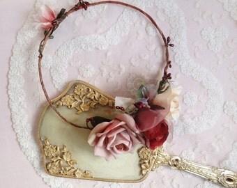 burgundy flower crown, red hair accessories, marsala wedding, red headpiece, bridal hair piece, winter wedding flower crown, floral crown