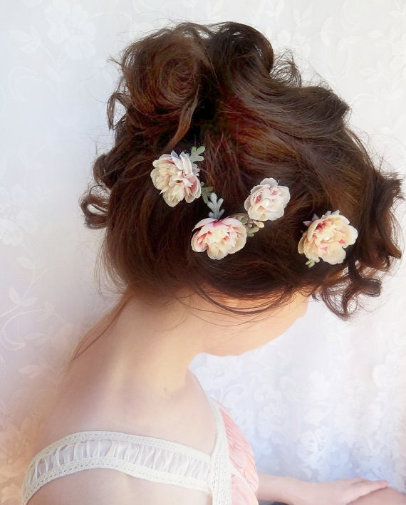 Wedding Hair Flowers Pink : Ivory flower hair pink bridal hairpiece cream wedding