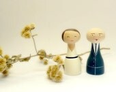Bride and groom cake topper Custom Wedding Personalized - Wooden art doll hand painted bald FREE SHIPPING