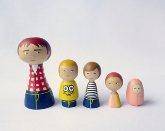 Wood Peg of 5 Portrait Dolls Uncle with nephews and niece - FREE SHIPPING Personalized - Wooden hand painted aunt