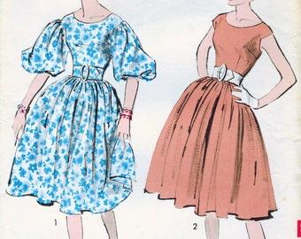 1950s Advance 8984 UNCUT Vintage Sewing Pattern Misses Party Dress Size 14 Bust 34