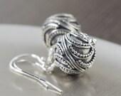cresent moon earrings Bali earrings round sterling silver earrings dangle earrings Gifts for her