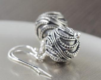 Valentine's Day gift cresent moon earrings Bali earrings round sterling silver earrings dangle earrings Gifts for her