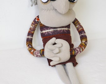 Grandma Art doll, old lady soft sculpture recycled knitted fabric