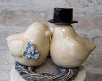 Ivory Love Birds with Top Hat