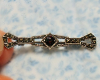 Vintage Garnet Marcasite Sterling Silver Bar Brooch Art Deco Style January Birthstone