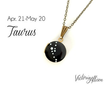 Taurus Star Sign, Taurus Constellation Locket, Zodiac Constellation, Zodiac Necklace, Hand Painted, Vintage Locket, April May Birthday