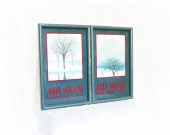 Vintage 80s Framed Wall Art Set 2 Trees Winter Gray Red John Sovjani 1983