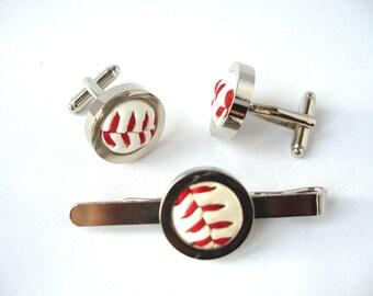 Groomsmen Cufflinks and Tie Clip Set, Real Baseball Cufflinks and Tie Bar, Wedding Cufflinks, Tie Slide, Groom Cufflinks, Fathers day, Sport