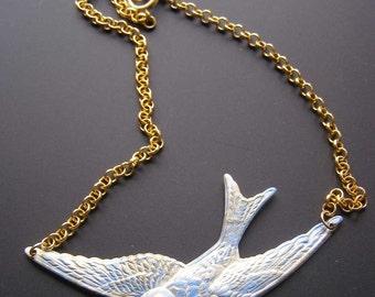 Blue Bird Necklace, Flying Bird Necklace, Soaring Bird Necklace, Swallow Bird Necklace, Nature Inspired Jewelry