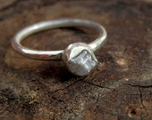 Custom sterling silver and conflict free 1 carat raw diamond ring / wedding ring / engagement ring / rough diamond ring