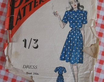 "1940s Dress - 34"" Bust - Practical Pattern 9190 - Vintage Sewing Pattern"