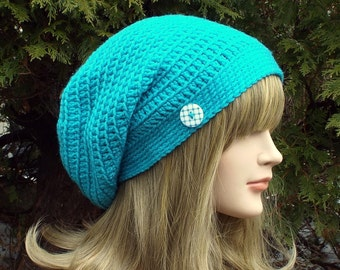 Turquoise Blue Slouchy Beanie, Womens Crochet Hat, Oversized Slouch Beanie. Hipster Hat, Baggy Beanie, Slouchy Hat with Button