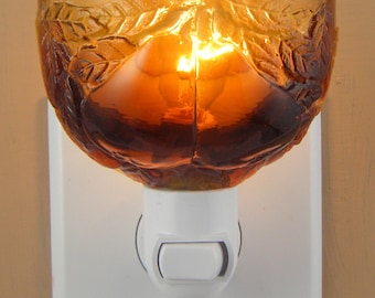 Amber Vintage Glass With Pears & Leaves Pattern Custom Made  Night Light
