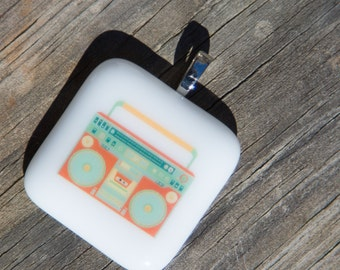 Fused Glass Pendant - Boombox - coral and teal