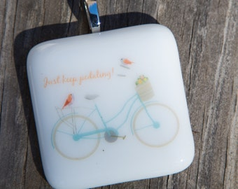 Fused Glass Pendant - Bicycle with Birds - Just Keep Pedaling - blue