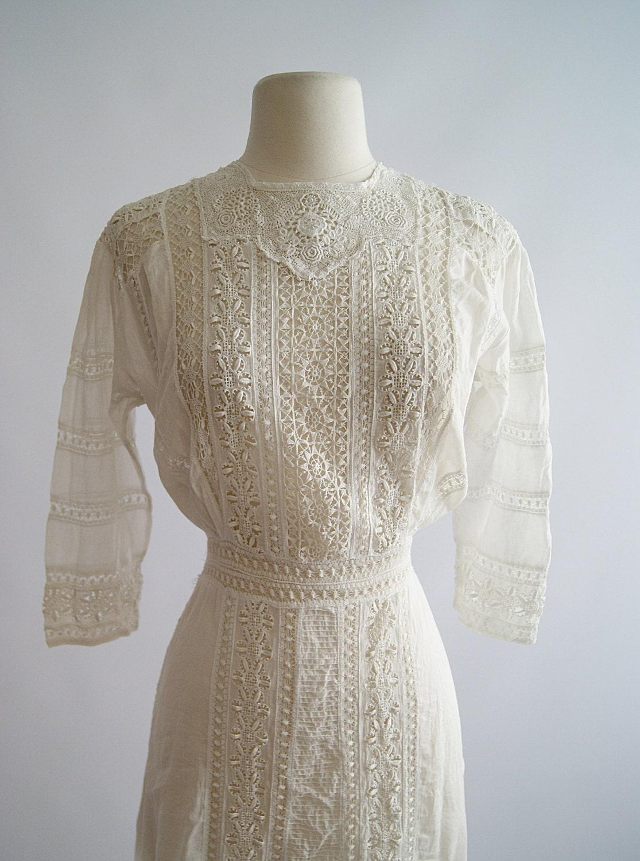 Vintage Edwardian Wedding Dress 1900s Edwardian Era Cotton