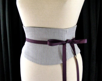 Gray and White Seersucker Waist Cincher Corset Belt Custom Any Size