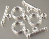 Sterling silver toggle clasp bar and ring closed loop
