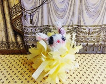 Cora the bunny -Vintage Style Handmade Chenille Dollhouse Figurine, Artisan Miniature Pipe Cleaner Animal Doll, Wire Ornament 42915