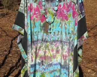 KALEIDOSCOPE  SILK CAFTAN Top boho chic hippie poncho Hand painted silk hand dyed silk top plus size womens designer original Lynn Meek