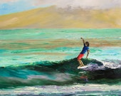 SURFER DUDE Framed Original Oil Painting Art Surf Surfing Surfboard Longboard Longboarder Wave Ocean Hawaii Paradise Vacation Hang Ten Style