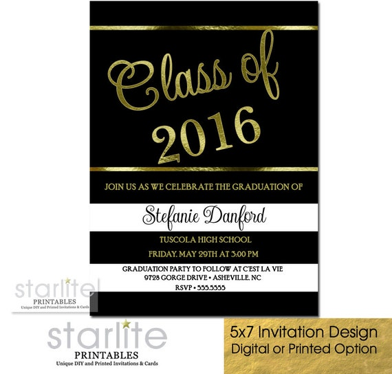 Black Gold Graduation Party Invitation Black White Stripes – Black and Gold Graduation Invitations