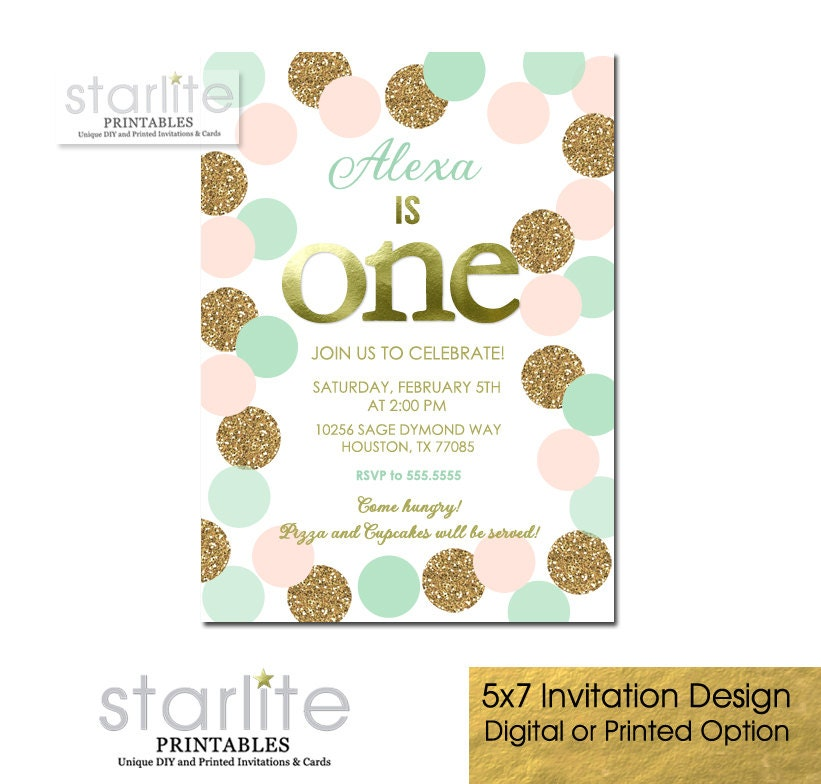 First Birthday Party In A Box In Gold Mint And Pink: Girl 1st Birthday Invitation Blush Pink Mint & Gold By