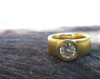Sunken Treasure Ring, 18kt gold wide band engagement or wedding ring  bezel set round, princess, emerald, oval cut moissanite or diamonds