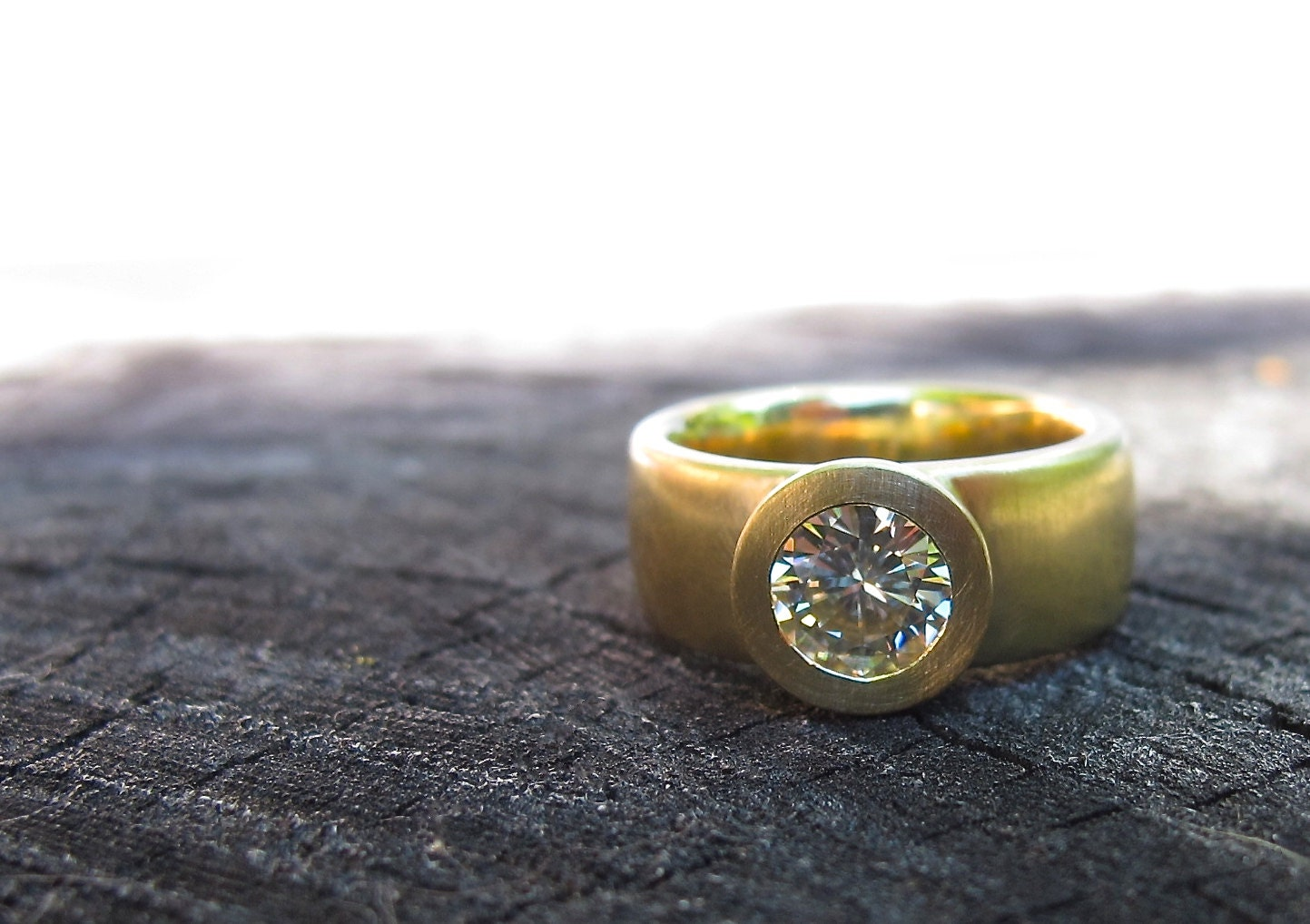 Sunken Treasure Ring 18kt Yellow Gold Wide Band Engagement