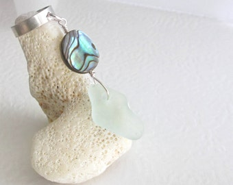 Green Sea Glass Earcuff, Abalone Shell Cartilage Cuff, Sterling Silver Ear Cuff, Beach Jewelry