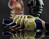 Facehugger Alien Large Glass Pipe Chillum Bat Hand Blown Thick Wall in YOU CHOOSE the COLOR, Made to Order