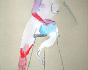 Original watercolor painting of Nude #1210 by Gretchen Kelly