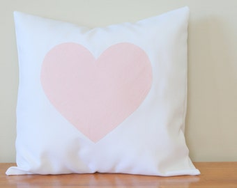 Baby Pink & White Heart Pillow