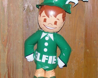SALE Vintage Elfie the Elf Inflatable Vinyl Doll Advertising Figure for Hanover Brands