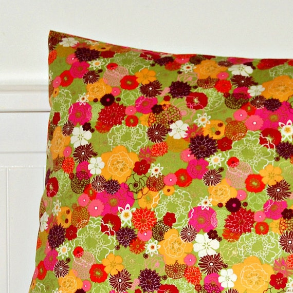 decorative orange green yellow gold pillow cover, flowers cushion cover 16 inch