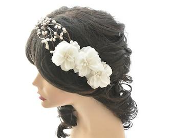 bridal hair accessories, wedding headpiece, woodland flower, bridal hair flower, rustic wedding, bridal headband, white rose headpiece