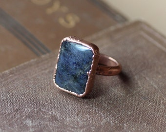 Dumortierite Ring Copper Gemstone Ring Electroformed Blue Purple Stone Ring Rustic Jewelry Size 5 1/4