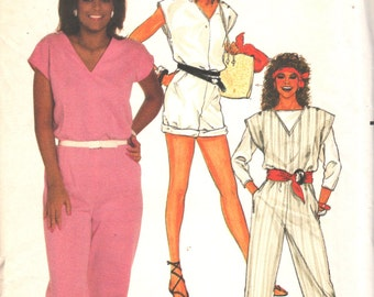 Butterick 6634 1980s Misses JUMPSUIT Top ROMPeR  Pattern JAYNE KENNeDY Womens Vintage Sewing Pattern Size 12 14 16 Bust 34 36 38 UNCUT