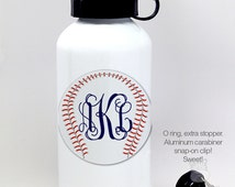 Monogrammed baseball water bottle - personalized stainless steel water bottle - BPA free