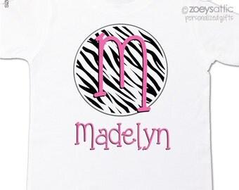 Zebra print monogram shirt initial with name personalized Tshirt